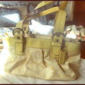 Coach logo yellow canvas bag